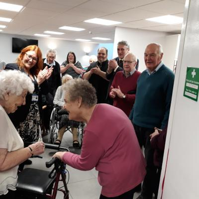 Ida Gurr and Hazel James are pictured cutting a ribbon at New Park House in Shrewsbury